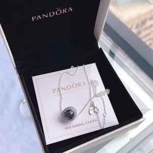 🎆NWT Pandora Ocean Heart Blue Shining Necklace